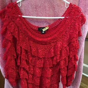 Area A silk red sweater S/M/L